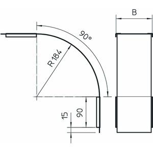 DBV 60 100 F FS, Deckel für Vertikalbogen 90° fallend B100mm, St, FS