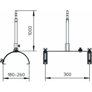 F-Fix-132-300, Fangstangenhalter für Firstziegel 1m, V2A, 1.4301