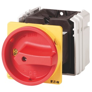T5-3-8342/V/SVB, Hauptschalter, T5, 100 A, Zwischenbau, 3 Baueinheit(en), 6-polig, NOT-AUS-Funktion, mit rotem Drehgriff und gelbem Sperrkranz, abschließbar in 0-Stell