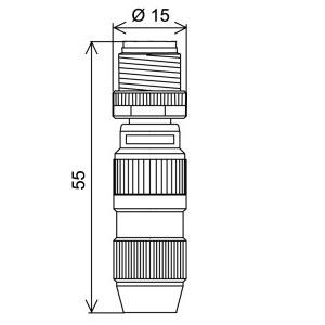WASC4S, M12 x 1 Rundsteckverbinder, Stecker, selbstkonfektionierbar