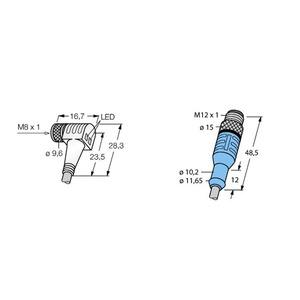 SWKP4P2-2-WAS4/S90, Verbindungsleitungen, Kupplung M8 x 1 mit LED - Stecker M12 x 1