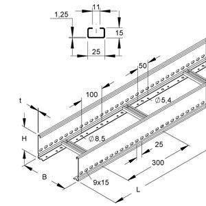 KL 100.203, Kabelleiter, 100x200x6000 mm, t=1,5 mm, gelocht, SA 300 mm, Stahl, bandverzinkt DIN EN 10346
