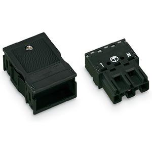 770-113, Stecker mit Zugentlastungsgehäuse 3-polig Kodierung A schwarz