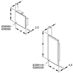 EG60110.1, Endstück, 60x107 mm, Kunststoff ABS, RAL 7030, steingrau