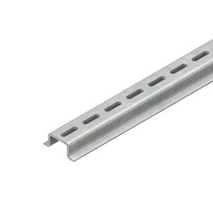 2936/2 GL, Tragschiene, Hut-Profil, 35x15x2000 mm, DIN-Anschlussmaße, gelocht, Stahl, galvanisch verzinkt DIN EN ISO 2081, dickschi