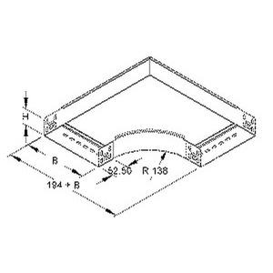 RES 60.300 F, Bogen 90° für KR, 60x302 mm, mit ungelochten Seitenholmen, Stahl, feuerverzinkt DIN EN ISO 1461, inkl. Zubehör