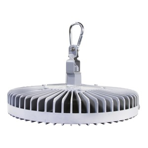 Vigilant High Bay, Oval, 19500 Lumens, 129 Watts, 100 - 277 VAC, Cool White 5000K, Glass - Clear, Gray, Hook, 10' [3 meter] Power Cable, Dimming (0-10V), [CE / ENEC / RCM]