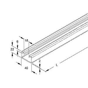 2986/2 GO, Ankerschiene, C-Profil, Schlitzweite 18 mm, 40x22x2000 mm, ungelocht, Stahl, galvanisch verzinkt DIN EN ISO 2081, dicksc