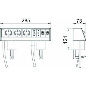 DB-MH1B3 D3S2K, Deskbox mit Befestigungszwinge, Alu, EL, alu