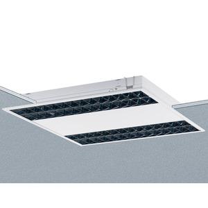 EBRE 414/24 SG-EVG, Einbauleuchte weiß, IP20, 4x14, 24W, Multiwatt EVG, Alu-Raster glänzend mit Silberbeschichtung.