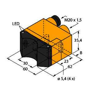 NI4-DSU35TC-2Y1X2, Induktiver Sensor, Doppelsensor für Schwenkantriebe, Standard, KEMA 02 ATEX 1090X