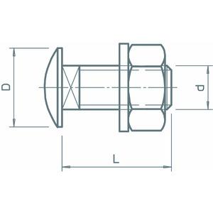 FRS 6x12 A2, Flachrundschraube mit Scheibe und Mutter M6x12, V2A, A2