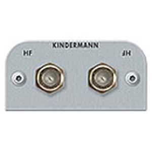Anschlussblende mit Druchgangs- Kupplung, F-Buchse - 2-fach für HF-Signale, Halblbende, Aluminium eloxiert