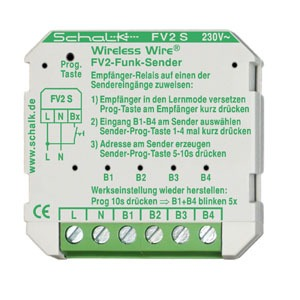 FV2 S (230V AC), Funk-Sender mit 4 Eingängen, 230V AC (UP)