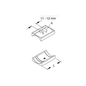 GWA 34, Gegenwanne Hammerfuß-Bügelschelle, Kabel-Ø 30-34 mm, Schlitzw. 11-12mm, Kunststoff, Polyethylen