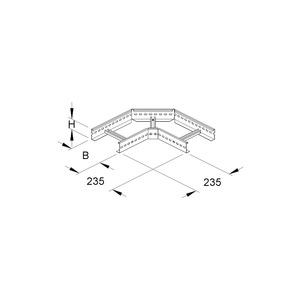 KLE 60.603 F, Eckstück für KL, 60x600 mm, mit gelochten Seitenholmen, Stahl, feuerverzinkt DIN EN ISO 1461