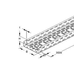 RLV 60.100, Kabelrinne leicht, gelocht, mit angeprägtem Verbinder, 60x100x3000 mm, Stahl, bandverzinkt DIN EN 10346, inkl. Zubehör