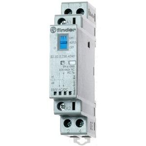 22.32.0.012.4540, Schütz für Reiheneinbau, 1 Schließer und 1 Öffner 25 A, Spule 12 V AC/DC, Auto-Off-On-Schalter, LED-Anzeige