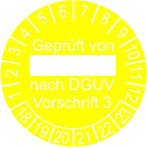 INP-DV-23, Prüfplakette, 30mm, Jahr 18-23 gelb, geprüft von ..... DGUV - Vorschrift 3-, INP-DV-23, VPE = 10 Karten à 5 Plaketten