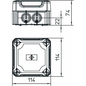 T 60 HD TR, Kabelabzweigkasten mit hohem transparentem Deckel 114x114x76, PP/PC, lichtgrau, RAL 7035