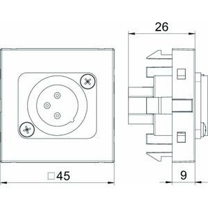 MTG-X3M S RW1, Multimediaträger XLR 3-polig Stecker mit Schraubanschluss 45x45mm, PC, reinweiß, RAL 9010