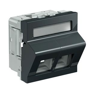 Datenmodul 2 Keystone schräg grau für 50mm Frontöffnung