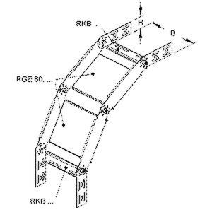 RGS 60.200, Bogen für KR, verstellbar, vertikal, 60x200 mm, Stahl, bandverzinkt DIN EN 10346, inkl. Zubehör
