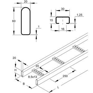 KRC 60.225 F, Kabelleiter, mit gelochten C-Sprossen, 60x200x6000 mm, Stahl, feuerverzinkt DIN EN ISO 1461