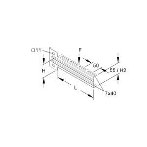 KTUM 400 F, Ausleger, mittelschwer, 83x405 mm, 1,2 kN, Stahl, feuerverzinkt DIN EN ISO 1461, inkl. Zubehör