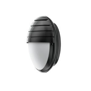 DUNE SCHIRM CFL 2X, Wand- und Deckenleuchte Dune Schirm CFL 2x9W Schwarz aus Polycarbonat, IP54, IK10, Schutzklasse II