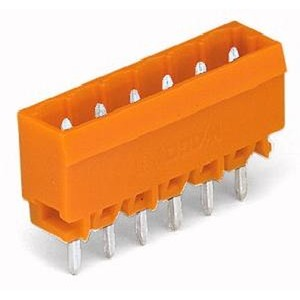THT-Stiftleiste Lötstift 1,2 x 1,2 mm gerade Rastermaß 5,08 mm 2-polig orange