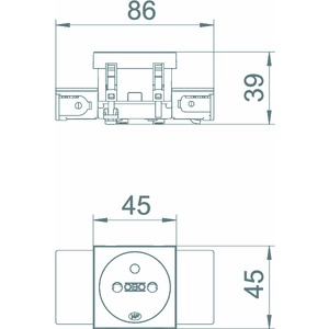 STD-F0C SWGR1, Steckdose 0°, 1-fach mit Erdungsstift, Connect 45 250V, 10/16A, PC, schwarzgrau, RAL 7021