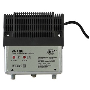 AL 1 RE, Hausanschlussverstärker mit 30 MHz Rückweg, Verstärkung Vorweg 20 dB , Ausgangspegel Vorweg 96 dBµV, Verstärkung Rückweg -2 dB (passiv), Dämpfungsstel