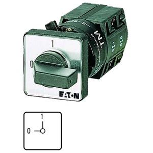 TM-1-8291/EZ, EIN-AUS-Schalter, Kontakte: 2, 10 A, Frontschild: 0-1, 90 °, rastend, Zentraleinbau
