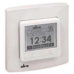 HTRRUu-210.021#27, Raum- bzw. Fußbodentemperaturregler, elektronisch, UP, 5...30°C, Display, mit Abdeckung 50 x 50 mm verkehrsweiß (ähnlich RAL 9016), glänzend