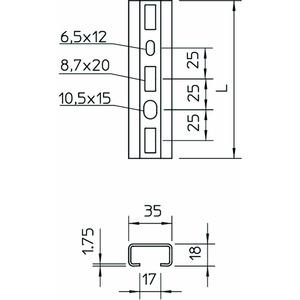 CMS3518P0400FS, Profilschiene gelocht, Schlitzweite 17mm 400x35x18, St, FS