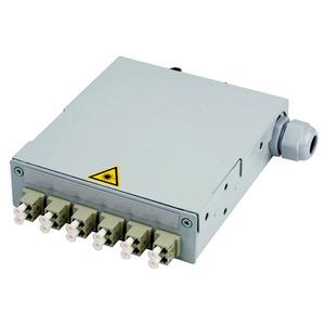 STX Tragschienen-Verteiler mit 6xLC Duplex Kupplungen, Multimode, Keramikhülse/Kunststoffgehäuse