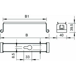 MAH 075 FS, Mittenabhängung für Kabelrinne B70mm, St, FS