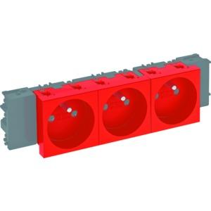 STD-F0C SRO3, Steckdose 0°, 3-fach mit Erdungsstift, Connect 45 250V, 10/16A, PC, signalrot, RAL 3001