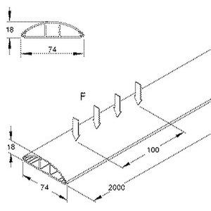 BDK1875.5, Bodenkanal, mit Deckel, 18x74x2000 mm, Kunststoff PVC-hart, RAL 8014, sepiabraun