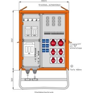 Verteilerschrank 139kVA mit RCD TypB und 3 RCDs TypA, 6 CEE-Abgänge 16-63A und 6 Schukos-WV0532A