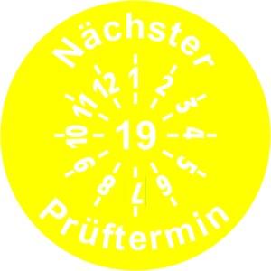 INP-F-19, Prüfplakette 19, gelb (30mm), VPE 10 Karten,5 Symbole pro Karte