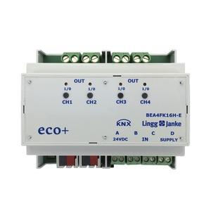 KNX eco+ Binär Ein-/Ausgang 4-fach, Kontaktabfrage, Handbedienung, 6 TE; Schaltleistung 16A 250 VAC, C-Last 200µF