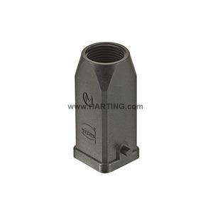 Tüllengehäuse, für Han-Brid, mit eingeklebter Dichtung, schwarz, Baugröße: 3 A, Längsbügel, gerader Kabeleingang, 1x M20