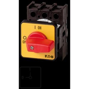 P1-32/E-RT, EIN-AUS-Schalter, P1, 32 A, Einbau, 3-polig, NOT-AUS-Funktion, mit rotem Knebel und gelbem Frontschild