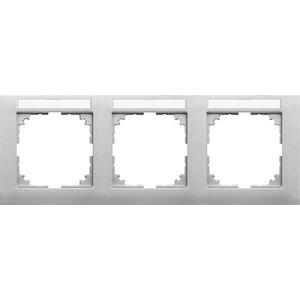M-Pure-Rahmen, 3f. m. Beschriftungsträger, waagerechte Montage, alu, M-Pure