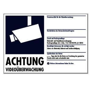 WAK-V51, Warnaufkleber: Hinweise zur Videoüberwachung DIN 33450 Selbstklebend A5