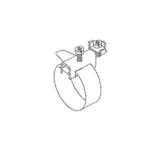 37/4, Erdungs-Bandschelle, längs/ quer,Bandlänge 412mm, f. Rohr-Ø 17,5-114mm, Messing, vernickelt