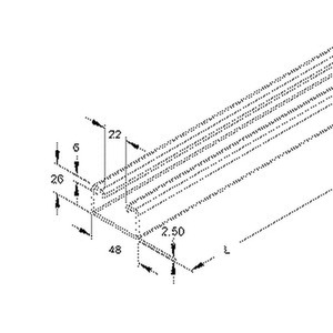2991/2 FO, Ankerschiene, C-Profil, Schlitzweite 22 mm, 48x26x2000 mm, ungelocht, Stahl, feuerverzinkt DIN EN ISO 1461