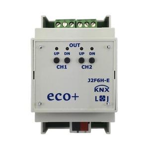 KNX eco+ Jalousie-/Rollladenaktor 2-fach, Handbedienung, 3 TE; Schaltleistung 6A 250 VAC